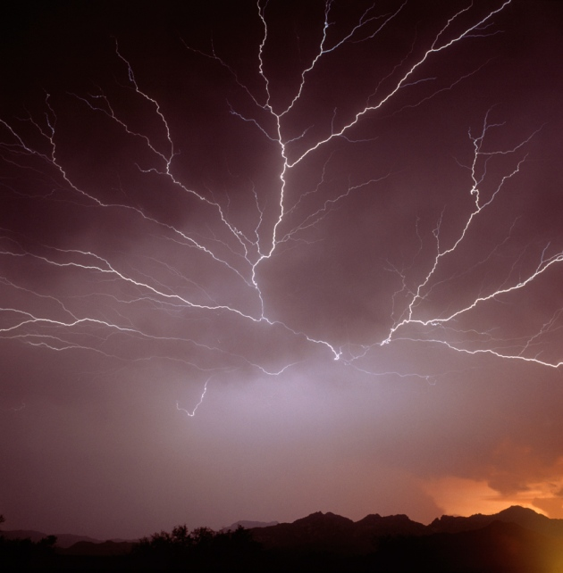 Intra cloud lightning at night over Phoenix, USA