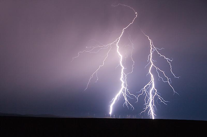 Lightning Strikes Wind Turbine